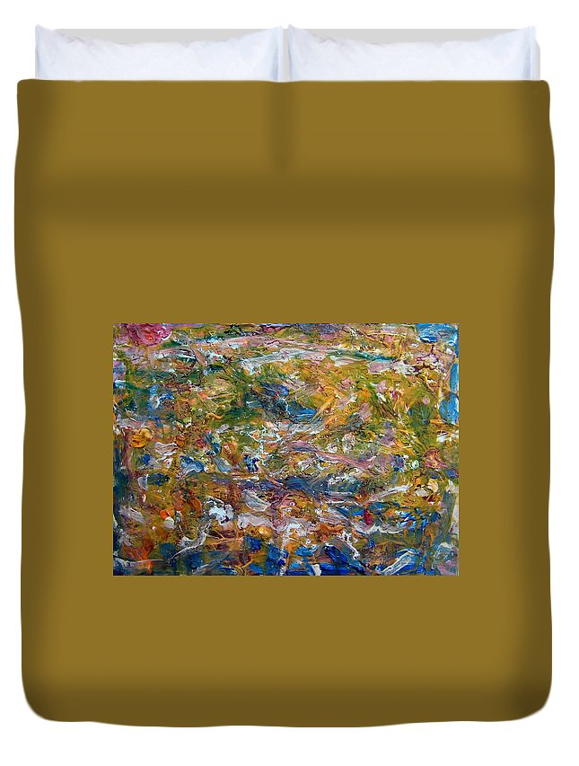 Abstract Duvet Cover featuring the painting What The Comet Left by Judith Redman
