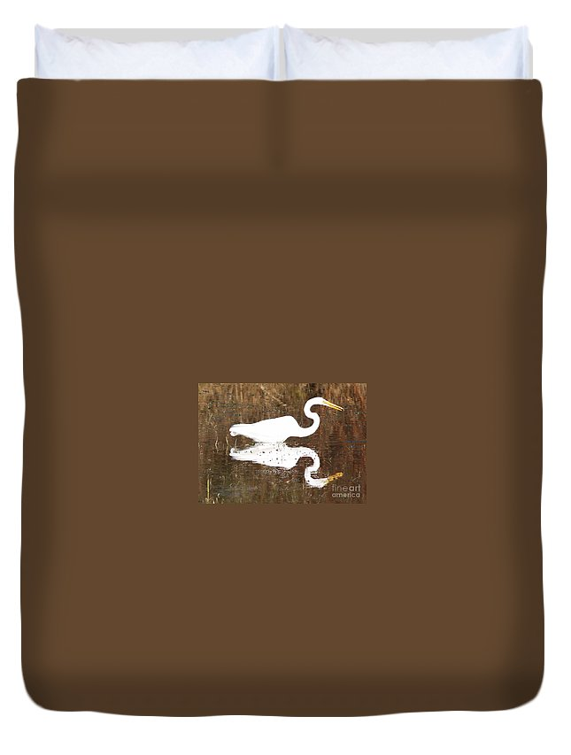 Egret Duvet Cover featuring the photograph What The Egret Caught by Carol Groenen