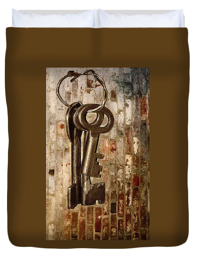 Antiques Duvet Cover featuring the photograph What They Unlock by Charuhas Images