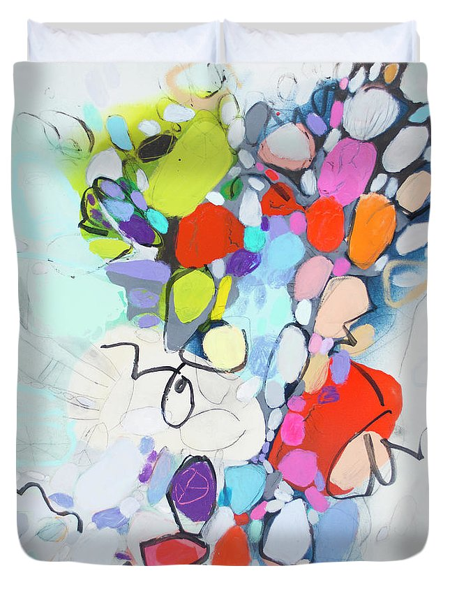 Abstract Duvet Cover featuring the painting What Time Is It? by Claire Desjardins