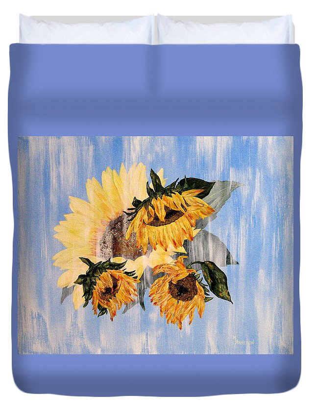 Sunflower Duvet Cover featuring the painting What Was, What Is by Mary Arneson