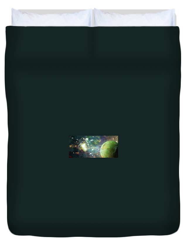 Space Duvet Cover featuring the digital art What's Out There by Adam Vance