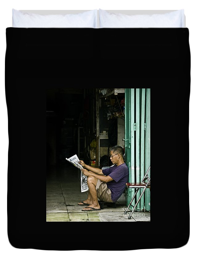 Newspaper Duvet Cover featuring the photograph What's The News by Charuhas Images