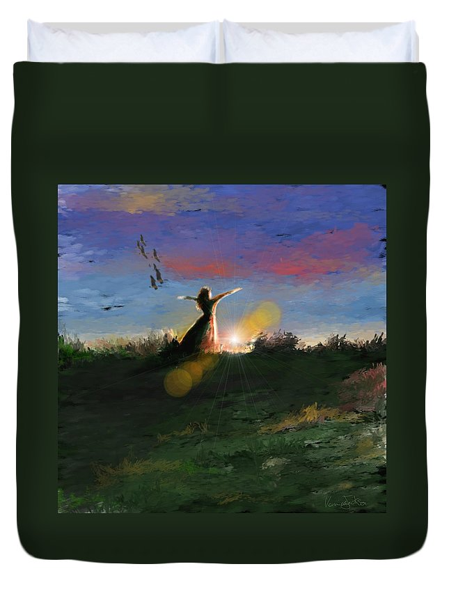 Morning Sunrise Star Woman Nature Sky Clouds Duvet Cover featuring the mixed media What's The Story Morning Glory by Veronica Jackson
