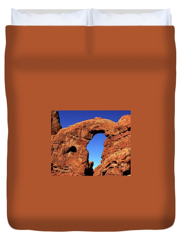 Arches Duvet Cover featuring the photograph What's Through There by Adam Vance