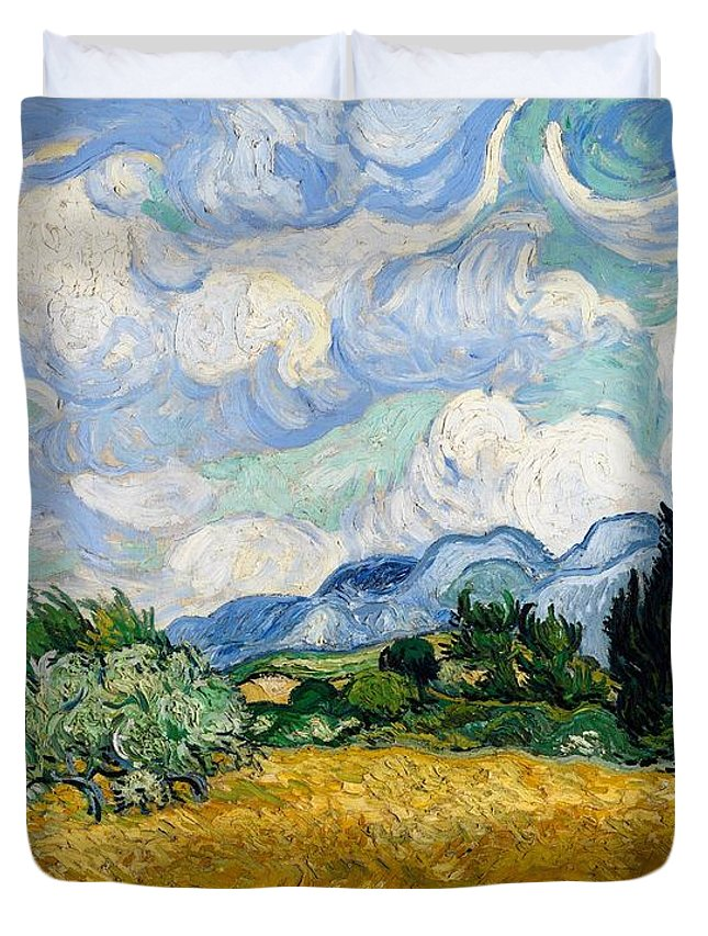 Vincent Van Gogh Duvet Cover featuring the painting Wheatfield With Cypresses by Van Gogh
