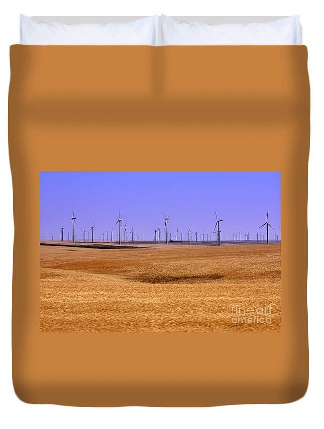 Wind Turbines Duvet Cover featuring the photograph Wheat Fields And Wind Turbines by Carol Groenen