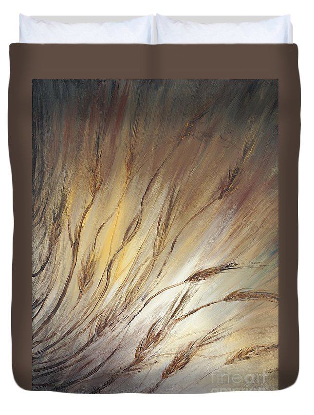 Wheat Duvet Cover featuring the painting Wheat In The Wind by Nadine Rippelmeyer