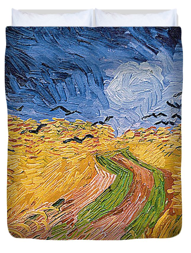 Landscape;post-impressionist; Summer; Wheat; Field; Birds; Threatening; Sky; Cloud; Post-impressionism Duvet Cover featuring the painting Wheatfield With Crows by Vincent van Gogh