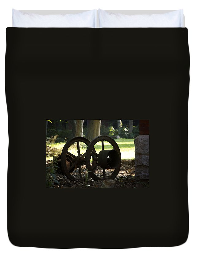 Wheel Duvet Cover featuring the photograph Wheels Of War-spanish American War Artifacts by Faith Harron Boudreau