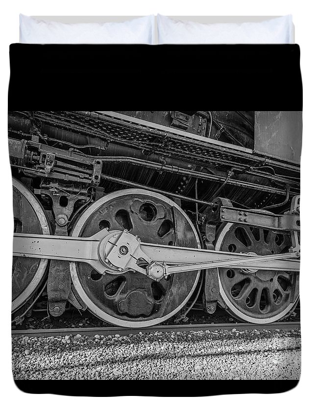 Driver Wheels Duvet Cover featuring the photograph Wheels On A Locomotive by Sue Smith