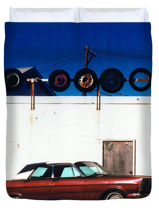 Cars Duvet Cover featuring the photograph Wheels by Steve Karol