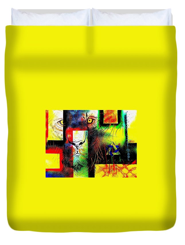 Urban Neo-renaissance Duvet Cover featuring the painting Whelp Of Judah- Revisited by Bruce Jernigan