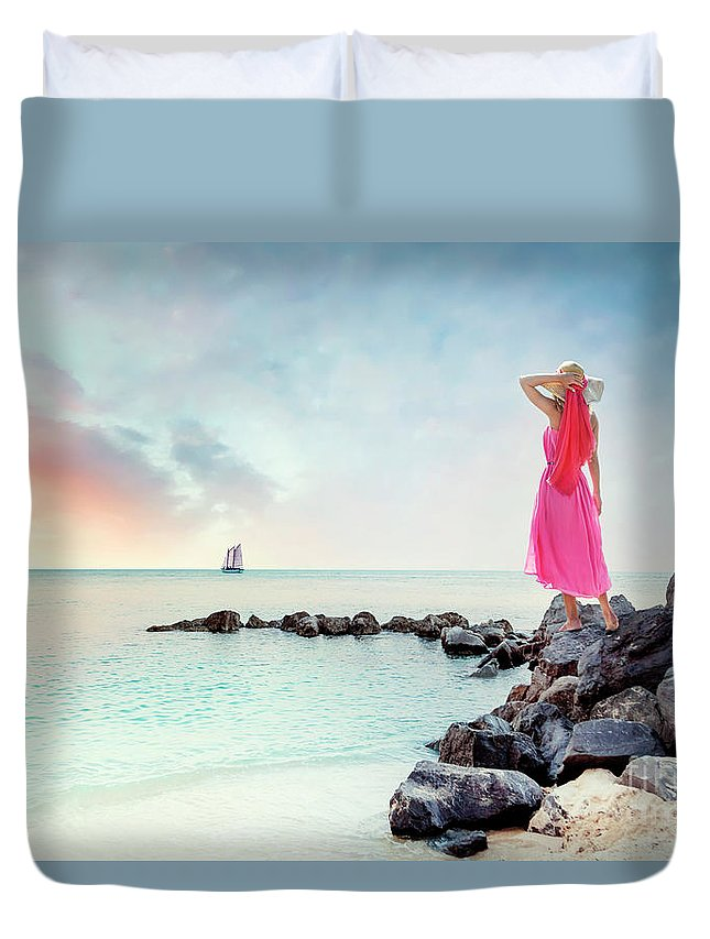 Kremsdorf Duvet Cover featuring the photograph When My Dreamboat Comes Home by Evelina Kremsdorf