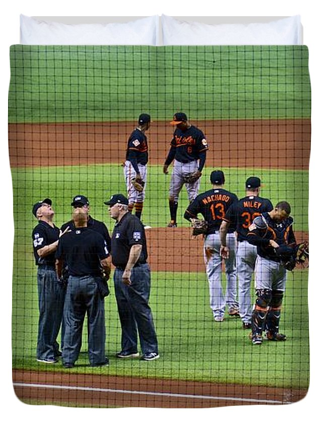 Baseball Duvet Cover featuring the photograph When No One Can Decide What To Call A High Fly Ball by Carol Bradley