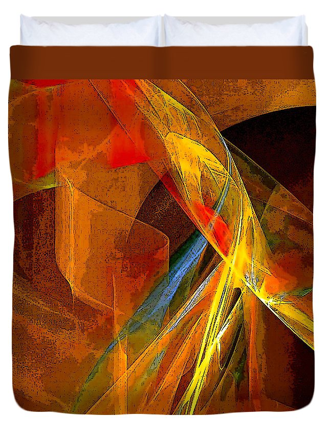 Abstract Duvet Cover featuring the digital art When Paths Cross by Ruth Palmer