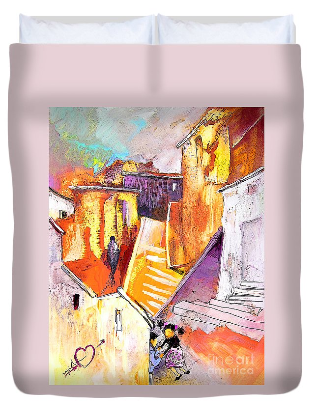 Townscape Duvet Cover featuring the painting When The Cat Is Away The Mice Will Dance by Miki De Goodaboom