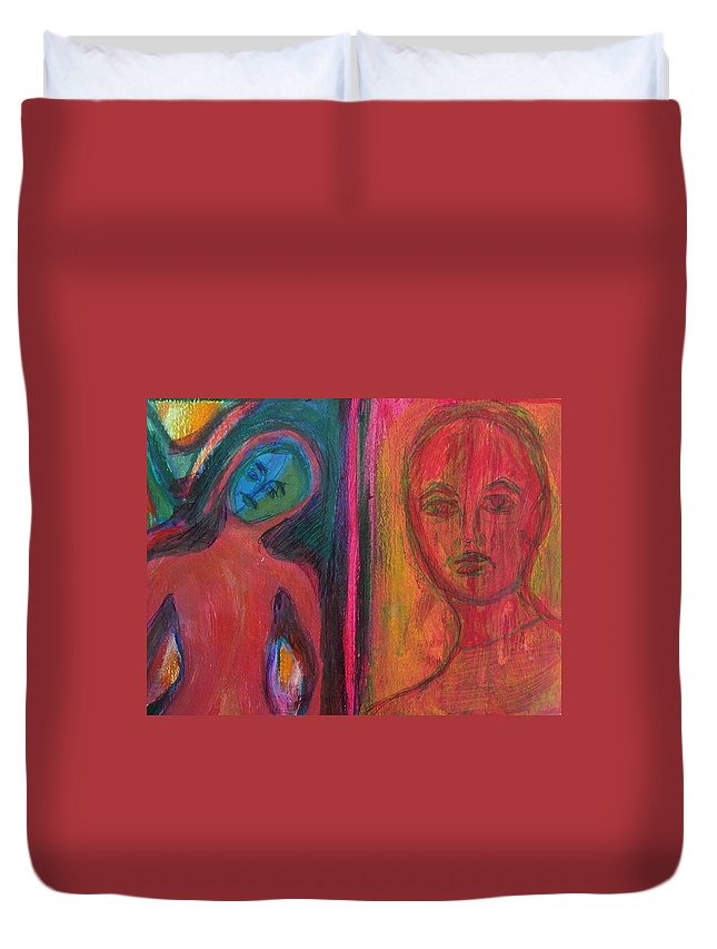 Abstract Duvet Cover featuring the painting When The World Doesnt Fit by Judith Redman