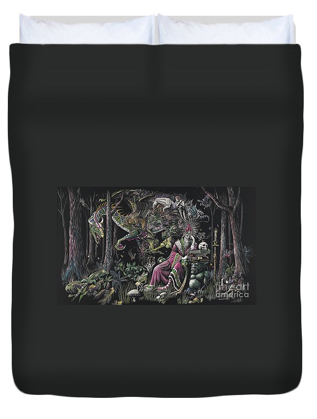 Dragon Duvet Cover featuring the drawing When Wizards Dream by Stanley Morrison