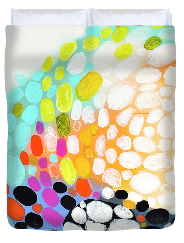 Abstract Duvet Cover featuring the painting When You Get Home by Claire Desjardins