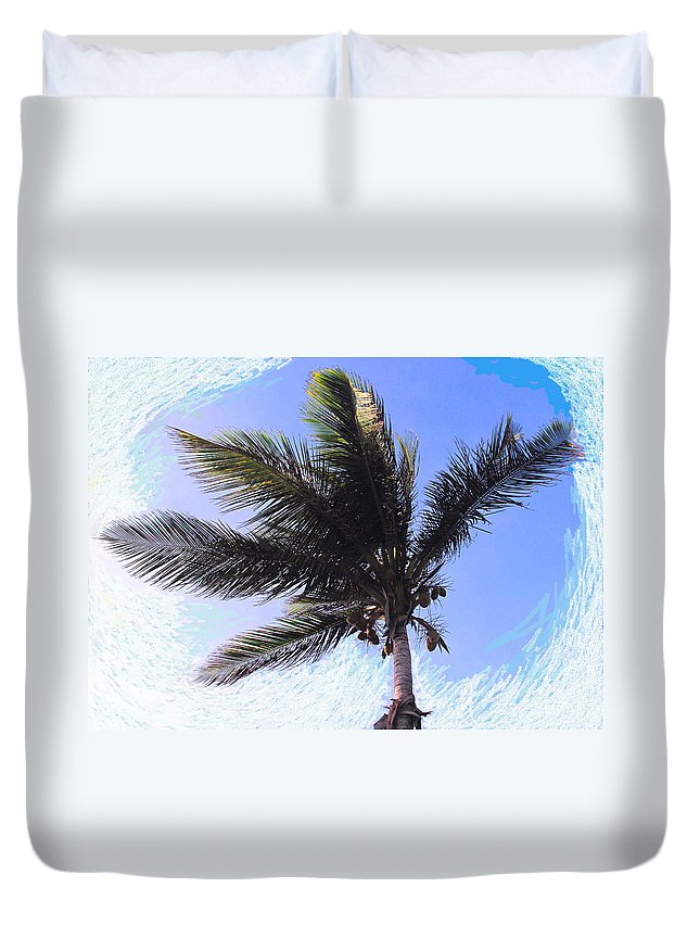 Palm Duvet Cover featuring the photograph Where Coconuts Come From by Ian MacDonald