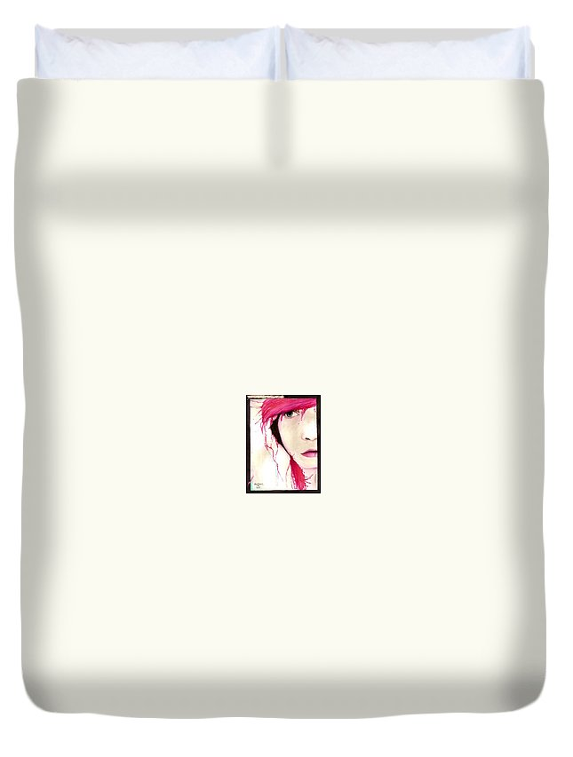 Pink Girl Duvet Cover featuring the drawing Where Do You Think Beauty Goes by Freja Friborg