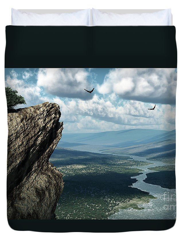 Mountains Duvet Cover featuring the digital art Where Eagles Soar by Richard Rizzo