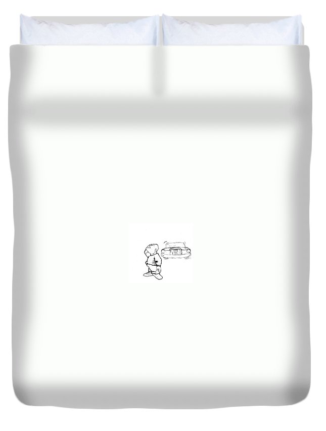 Man Duvet Cover featuring the drawing Where I Am... by Line Gagne