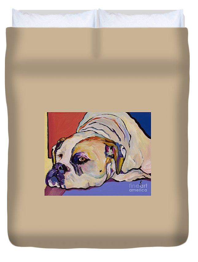American Bulldog Duvet Cover featuring the painting Where Is My Dinner by Pat Saunders-White