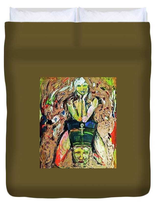 Nefertiti Duvet Cover featuring the painting Where Is Nefertiti? V1 by Julie Stewart Rose