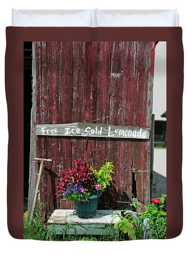 Sign Duvet Cover featuring the photograph Where Is The Lemonade by David Arment