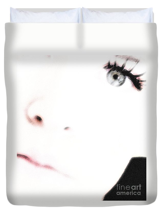 Face Duvet Cover featuring the photograph Where Is The Soul by Amanda Barcon