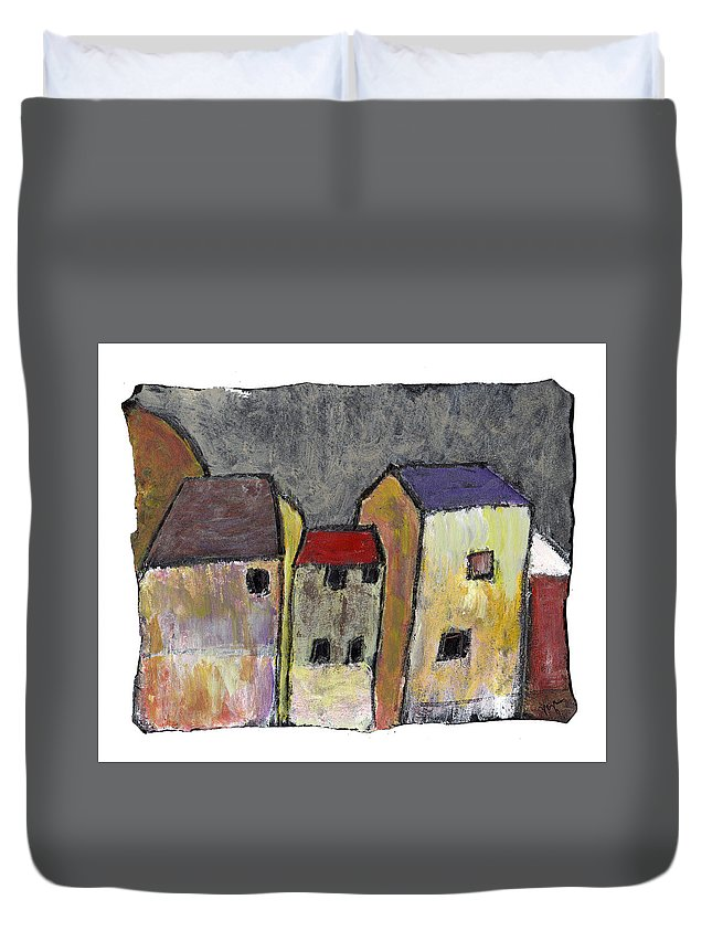 Buildings Duvet Cover featuring the painting Where Once There Was by Wayne Potrafka