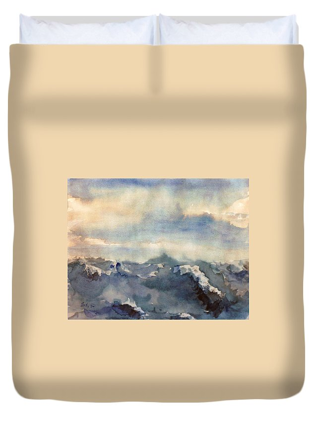 Seascape Duvet Cover featuring the painting Where Sky Meets Ocean by Steve Karol