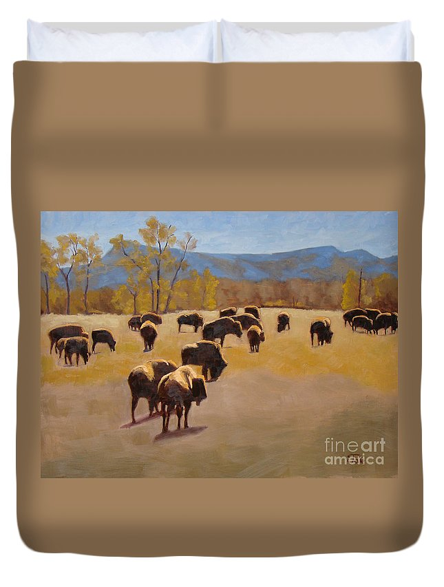 Buffalo Duvet Cover featuring the painting Where The Buffalo Roam by Tate Hamilton