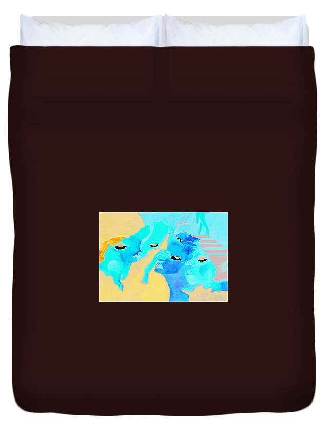Lost Curious Red Blue People Duvet Cover featuring the painting Where Was I by Veronica Jackson