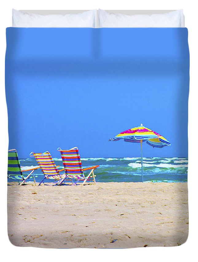 Chairs Duvet Cover featuring the digital art Where We Want To Be by Betsy Knapp