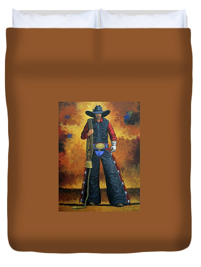 Rodeo Duvet Cover featuring the painting Where's My Ride by Lance Headlee