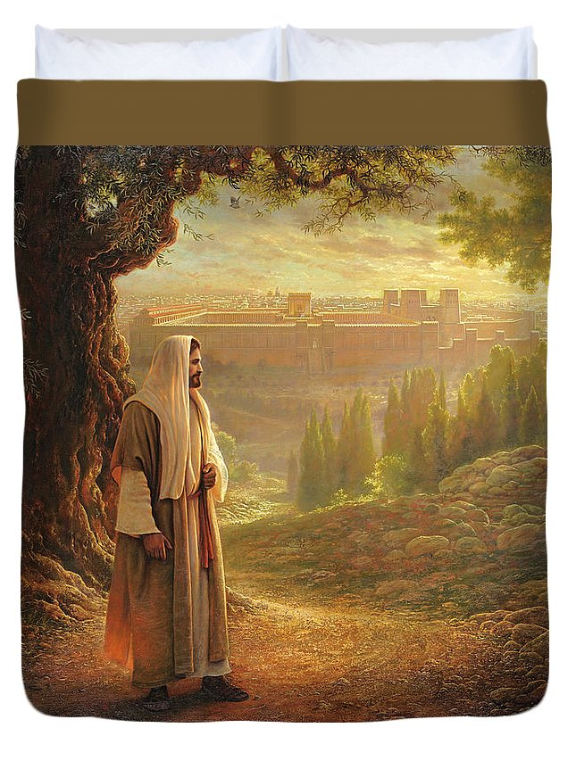 Jesus Duvet Cover featuring the painting Wherever He Leads Me by Greg Olsen