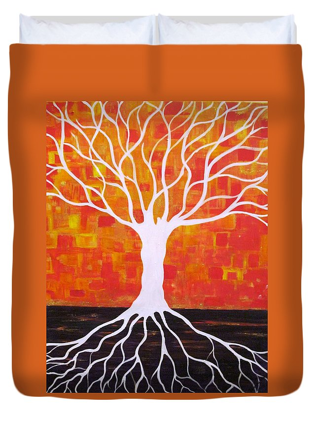 Tree Duvet Cover featuring the painting Which Side by Jacqui Hawk
