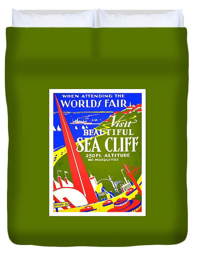 Worlds Fair Duvet Cover featuring the painting While In Worlds Fair, Visit Sea Cliff by Long Shot