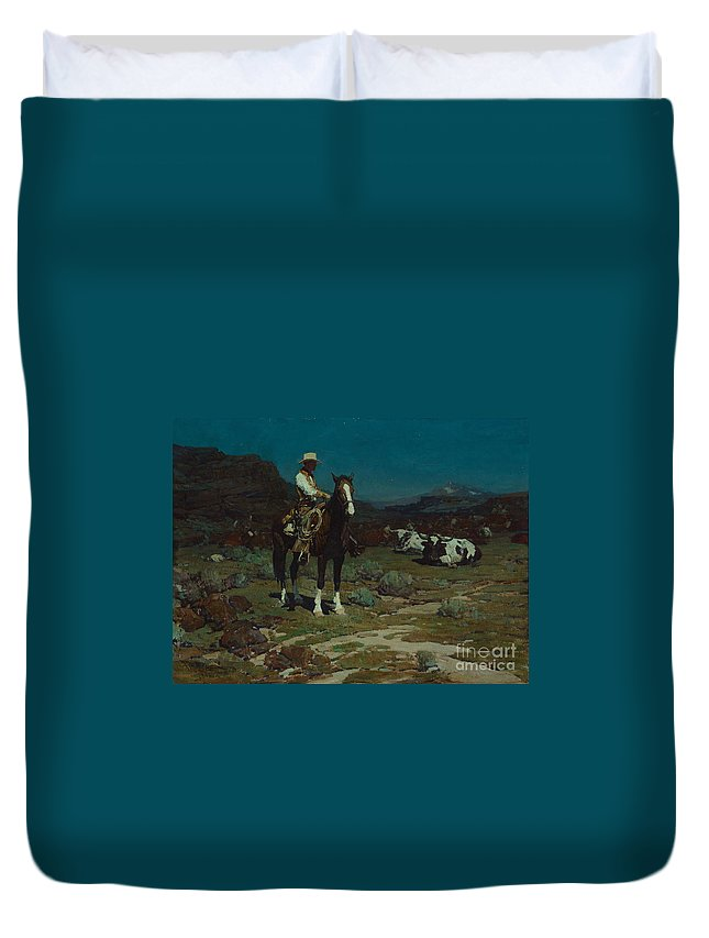 Frank Tenney Johnson (1874-1939) While Trail-weary Cattle Are Sleeping (1936) Duvet Cover featuring the painting While Trail-weary Cattle Are Sleeping by Celestial Images