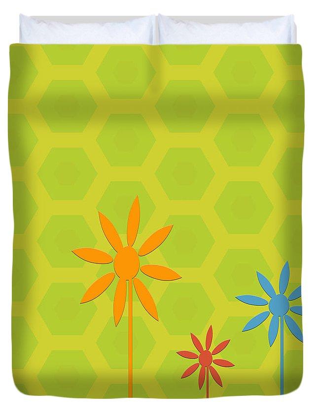 Digital Art Duvet Cover featuring the digital art Whimsical Flowers by Bonnie Bruno