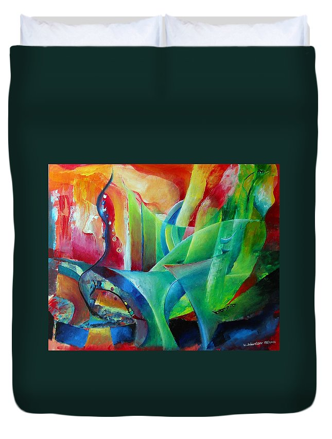 Abstract Art Duvet Cover featuring the painting Whimsical Mood-landscape And Fields by Wolfgang Schweizer