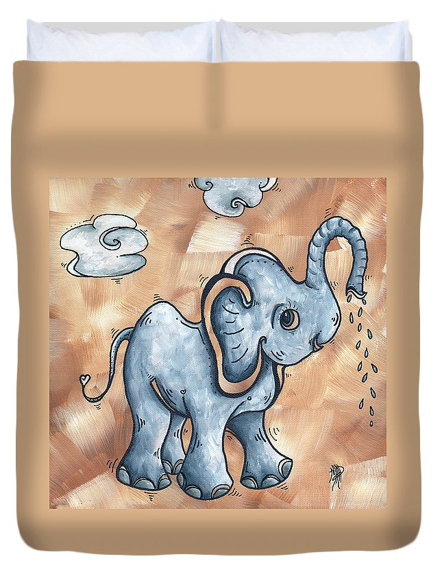 Childrens Duvet Cover featuring the painting Whimsical Pop Art Childrens Nursery Original Elephant Painting Adorable By Madart by Megan Duncanson