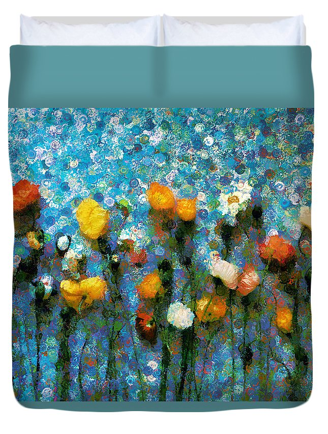 Whimsical Poppies On The Blue Wall Duvet Cover featuring the mixed media Whimsical Poppies On The Blue Wall by Georgiana Romanovna