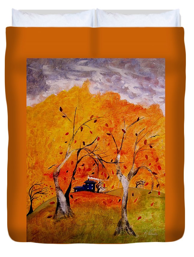 Abstract Duvet Cover featuring the painting Whimsical Wind by Ruth Palmer