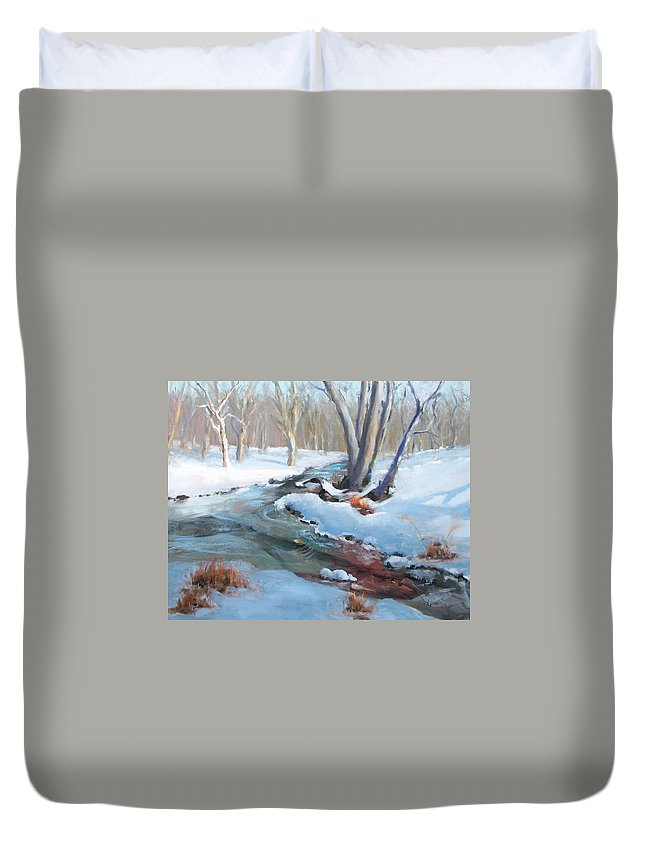 Snow Brook Winter Scene Cold Stream Trees Forest Winter Forest Duvet Cover featuring the painting Whippany Brook In Winter by Laurie Paci