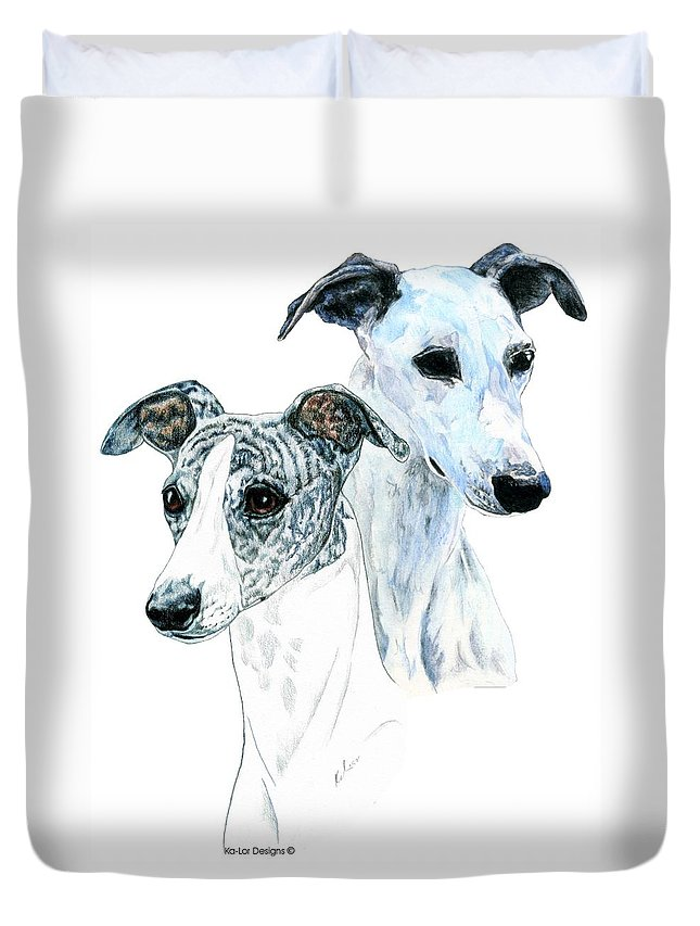 Whippet Duvet Cover featuring the painting Whippet Pair by Kathleen Sepulveda