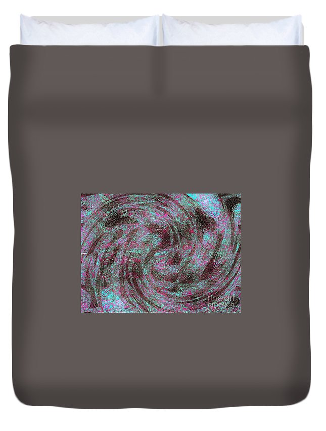 Blue Duvet Cover featuring the digital art Whirl Wind Of Butterflies And Birds by Debra Lynch